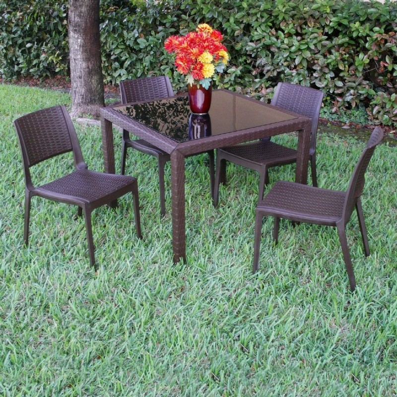 Miami Pool Dining Set 5 Piece Brown with Side Chairs alternative photo