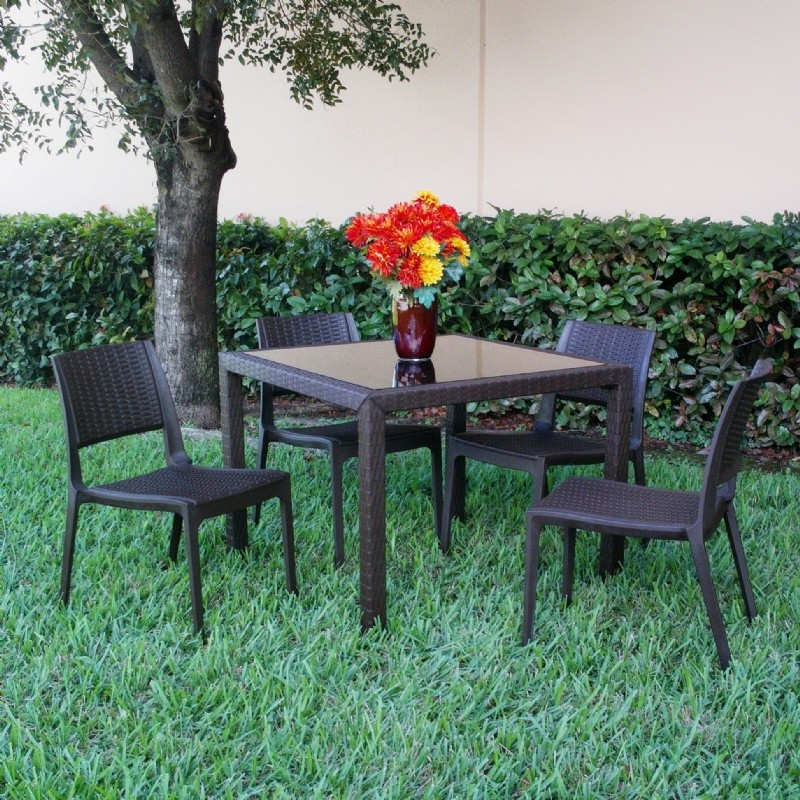Wickerlook Miami Plastic Patio Dining Furniture 5 Piece Set Brown with Side Chairs
