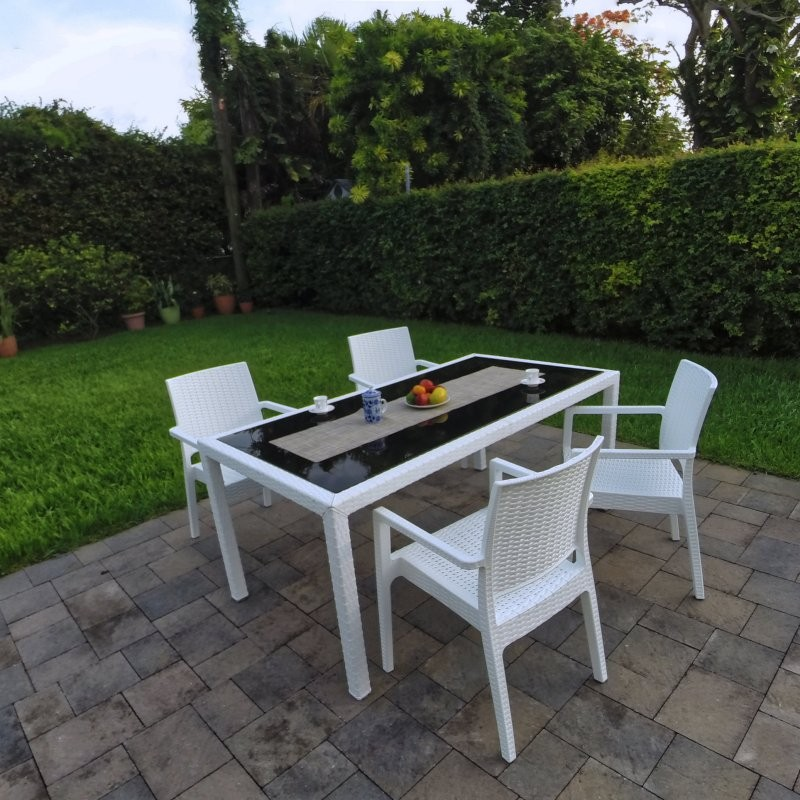 Miami Wickerlook Resin Patio Dining Set 5 Piece Rectangle White