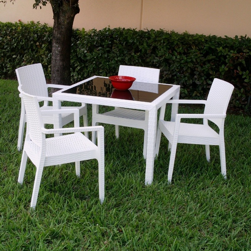 Wickerlook Miami Square Plastic Patio Dining Set 5 Piece White