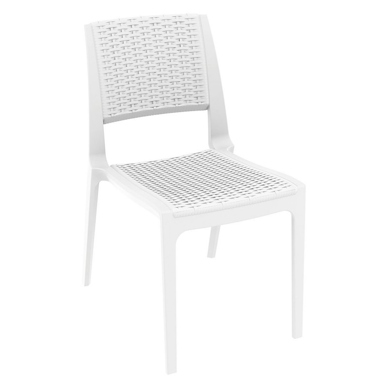 Outdoor Furniture: WickerLook: Miami Beach Collection: Verona Wickerlook Resin Patio Dining Chair White