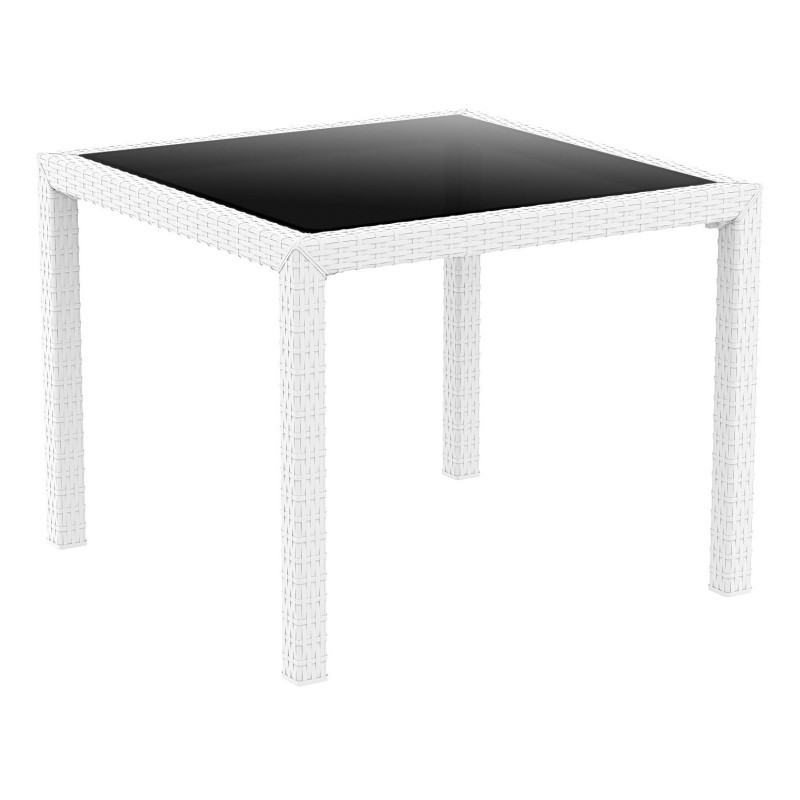 Miami Wickerlook Resin Square Patio Dining Table White 37 inch. : Plastic Outdoor Tables