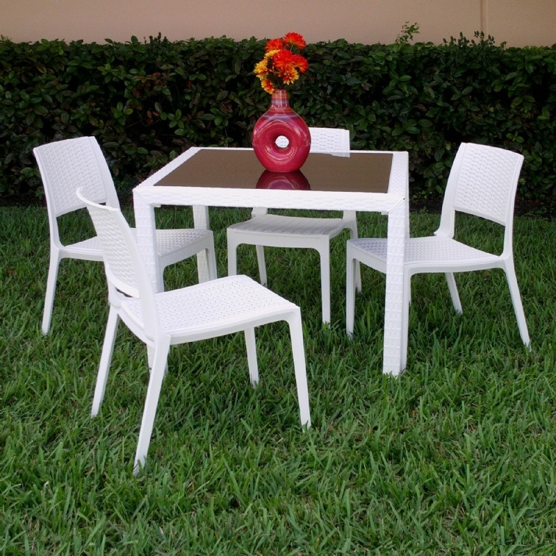 Wickerlook Miami Square Plastic Patio Dining Set 5 Piece White with Side Chairs