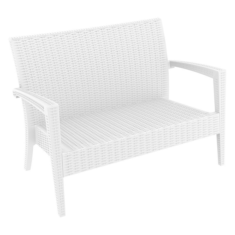Wickerlook Miami Plastic Loveseat White