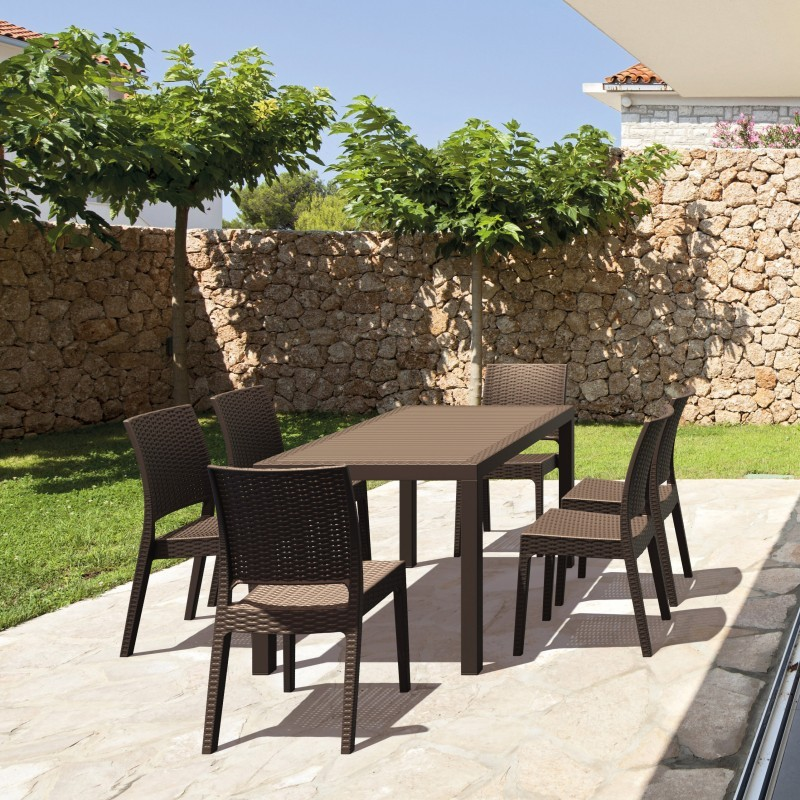 Orlando Wickerlook Square Patio Dining Set 7 Piece Brown