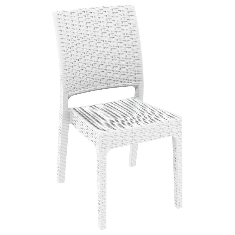 Outdoor Furniture: WickerLook: Florida Wickerlook Resin Patio Dining Chair White