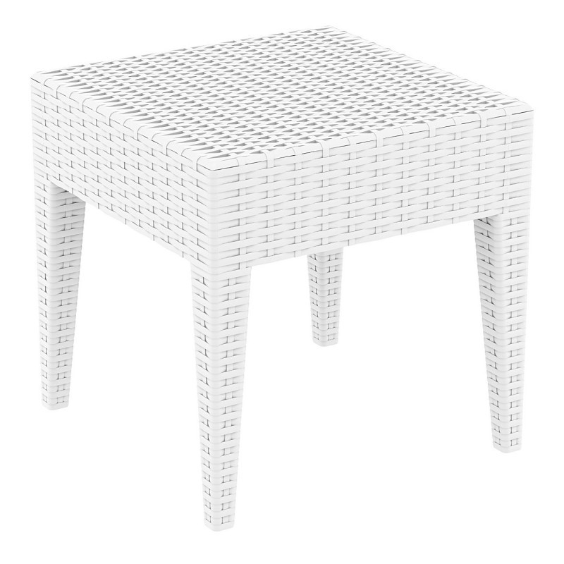 Outdoor Furniture: Plastic Outdoor Tables: Miami Wickerlook Resin Patio Side Table White 18 inch.