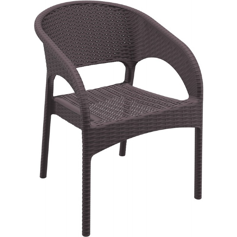 Panama Wickerlook Resin Patio Dining Armchair Brown