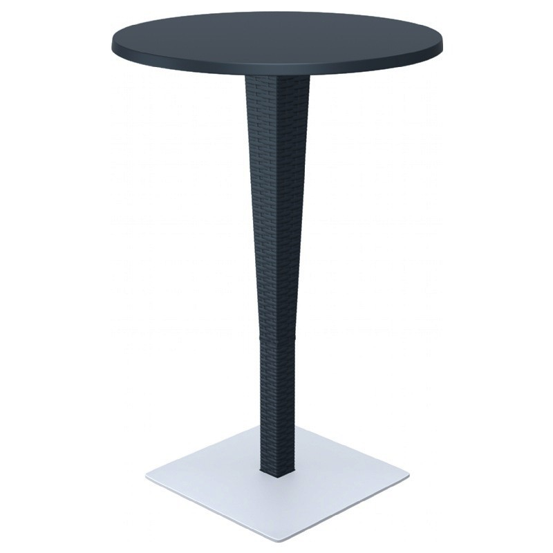 Riva Wickerlook Resin Round Bar Table Dark Gray 28 inch.