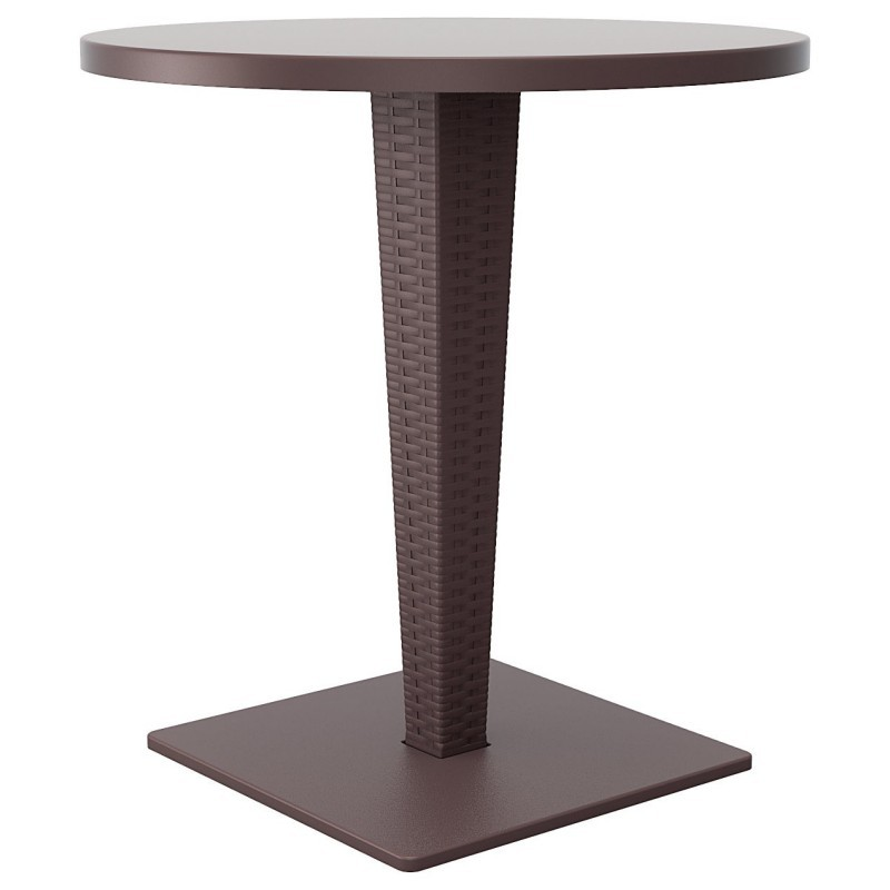 Riva Wickerlook Resin Round Patio Dining Table Brown 28 inch.