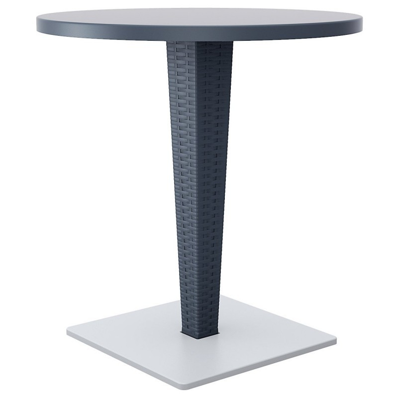 Riva Wickerlook Resin Round Patio Dining Table Gray 28 inch.