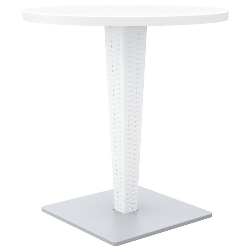 Riva Wickerlook Resin Round Patio Dining Table White 28 Inch