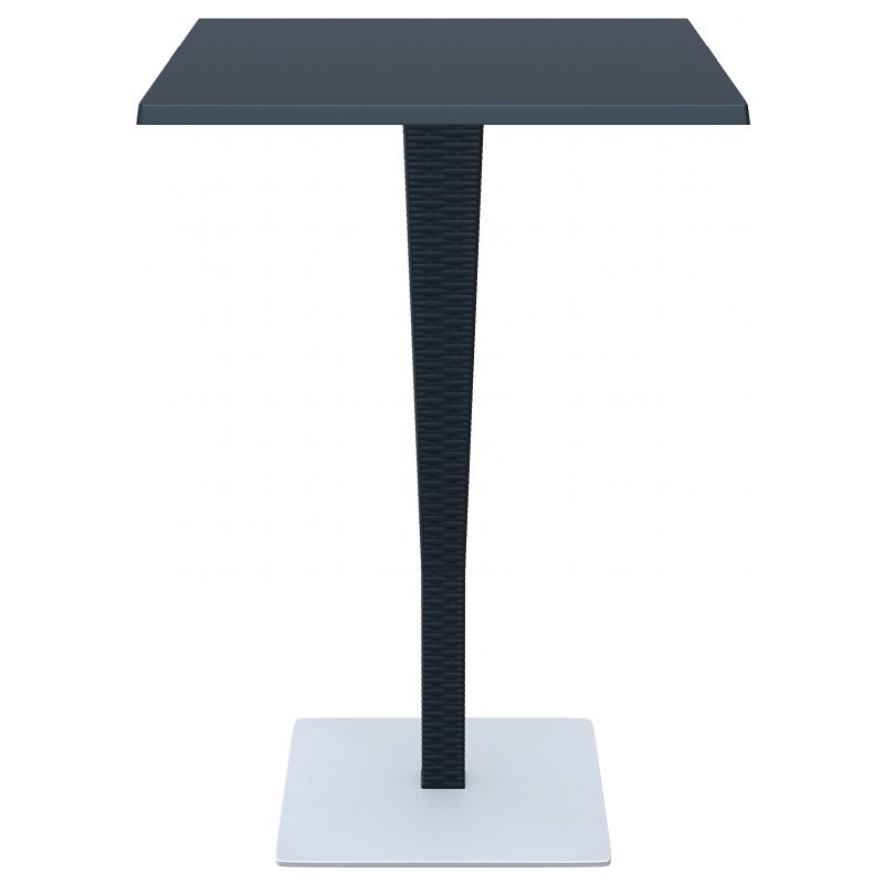 Riva Wickerlook Resin Square Bar Table Dark Gray 28 inch.
