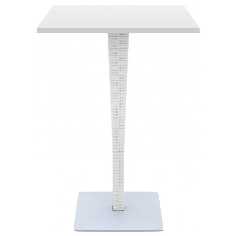 Riva Wickerlook Resin Square Bar Table White 28 inch.