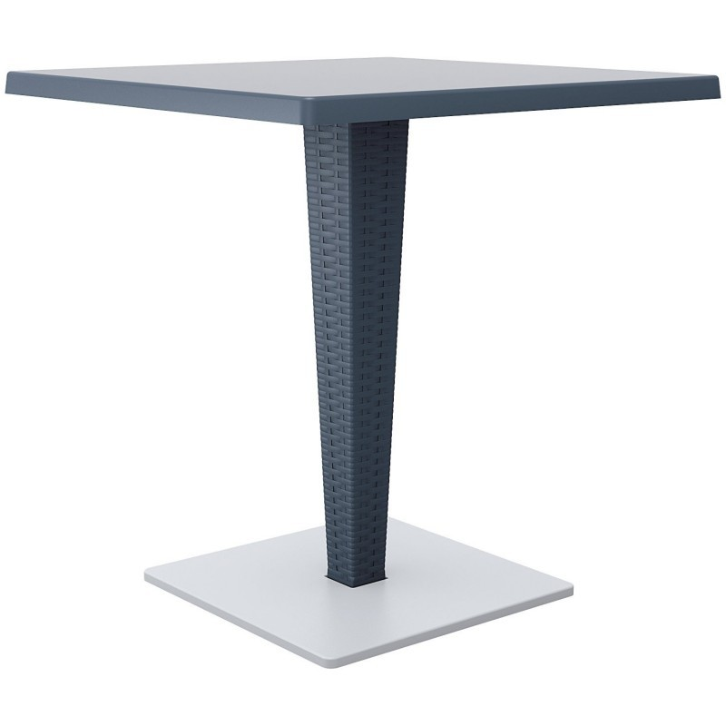 Riva Wickerlook Resin Square Patio Dining Table Gray 28 inch.