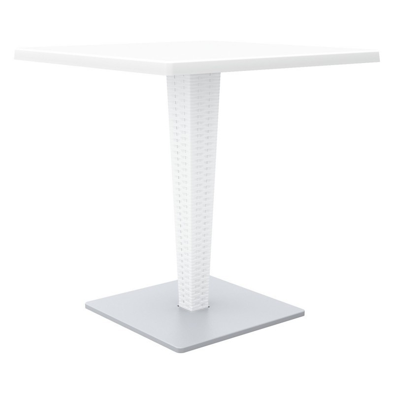 Riva Wickerlook Resin Square Patio Dining Table White 28 inch.