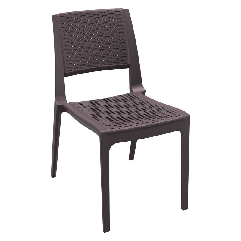 Wickerlook Verona Plastic Dining Chair Brown