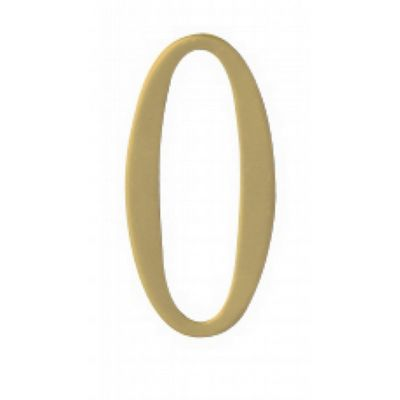 "Special Lite 2"" Brass Self Adhesive Address Number. Number: 0 BR2-0"