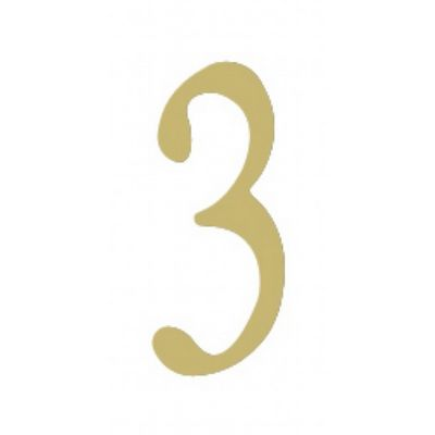 "Special Lite 2"" Brass Self Adhesive Address Number. Number: 3 BR2-3"