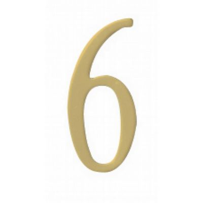 "Special Lite 2"" Brass Self Adhesive Address Number. Number: 6 BR2-6"