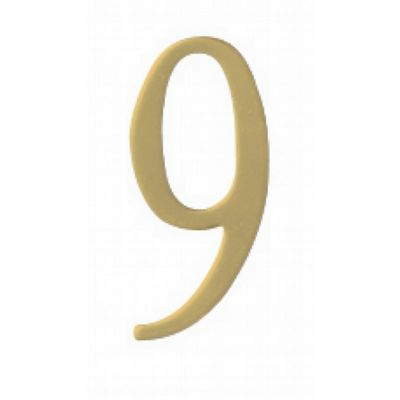 "Special Lite 2"" Brass Self Adhesive Address Number. Number: 9 BR2-9"