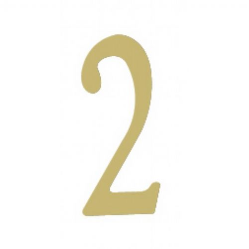 "Special Lite 2"" Brass Self Adhesive Address Number. Number: 2 BR2-2"
