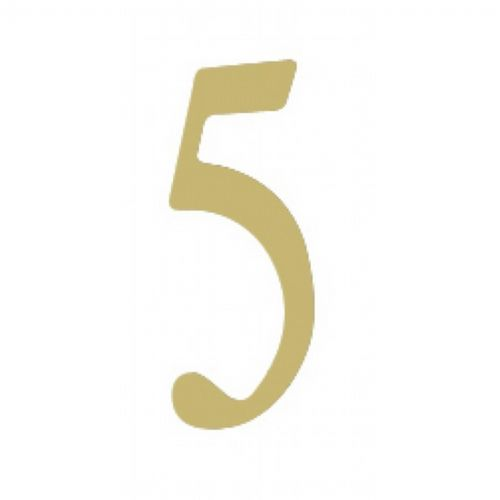 "Special Lite 2"" Brass Self Adhesive Address Number. Number: 5 BR2-5"