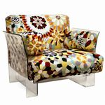 Clear Acrylic Accent Chair with Floral Cushion BX-88403