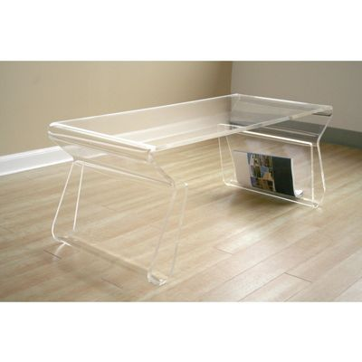 Clear Acrylic Coffee Table with Magazine Rack BX-FAY-9948-CLEAR