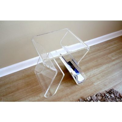 Clear Acrylic End Table with Magazine Rack BX-FAY-8196-CLEAR