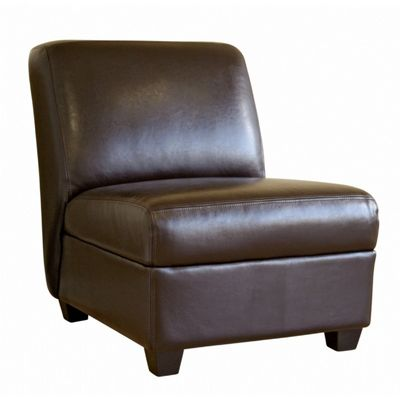 Full Leather Dark Brown Armless Club Chair BX-A-85-001-DBRN