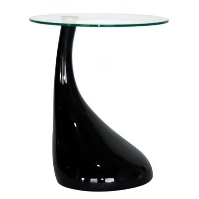 Glossy Black Plastic Round Coffee Table with Glass Top BX-2309-BLACK