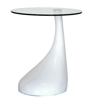 Glossy White Plastic Round Coffee Table with Glass Top BX-2309-WHITE