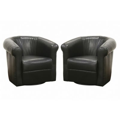 Julian Faux Leather Club Chair with 360 Degree Swivel BX-A-282-BLACK-BROWN
