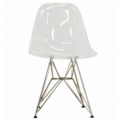 Lexy Clear Acrylic Accent Chair with Steel Legs BX-CC-231-CLEAR