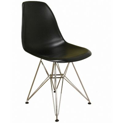 Modern Plastic Black Side Chair with Steel Legs BX-DC-231-BLACK