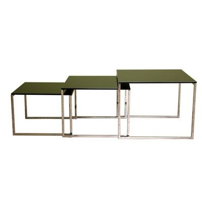 Nara Glass Top Nesting Table BX-ALG-9026-BLACK