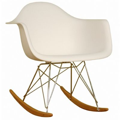 Rocking White Plastic Resin Accent Chair BX-DC-311W-WHITE