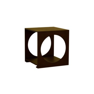 Round Cut Out Black Wood End Table BX-CT-002