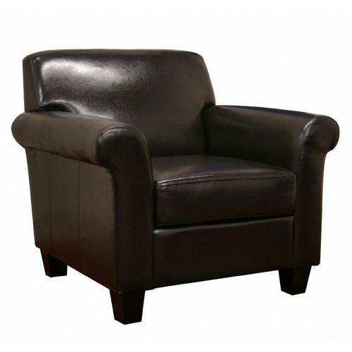 Atticus Black Brown Faux Leather Modern Club Chair Bx