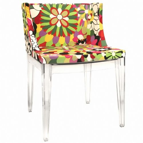 Fiore Clear Acrylic Accent Chair With Floral Pattern Bx Dc