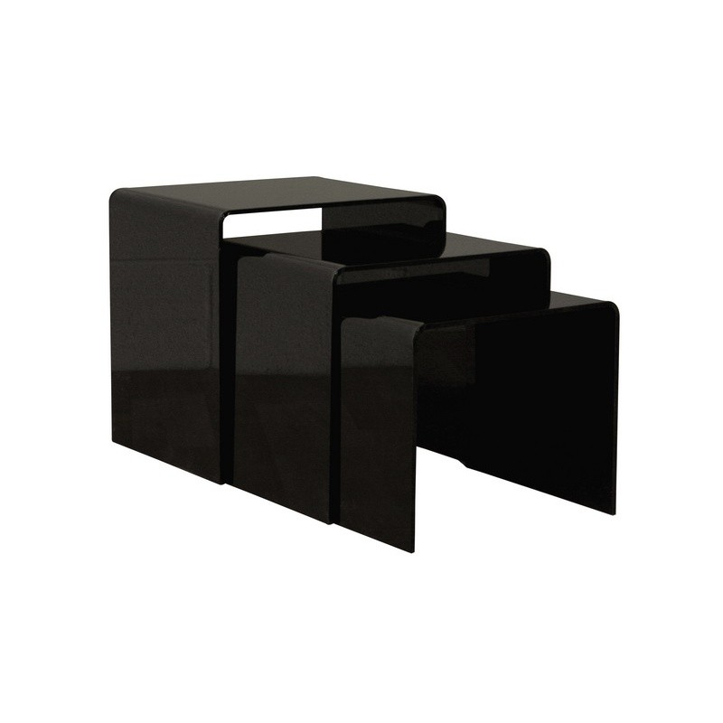 Black Acrylic Nesting Table 3 Pc Set