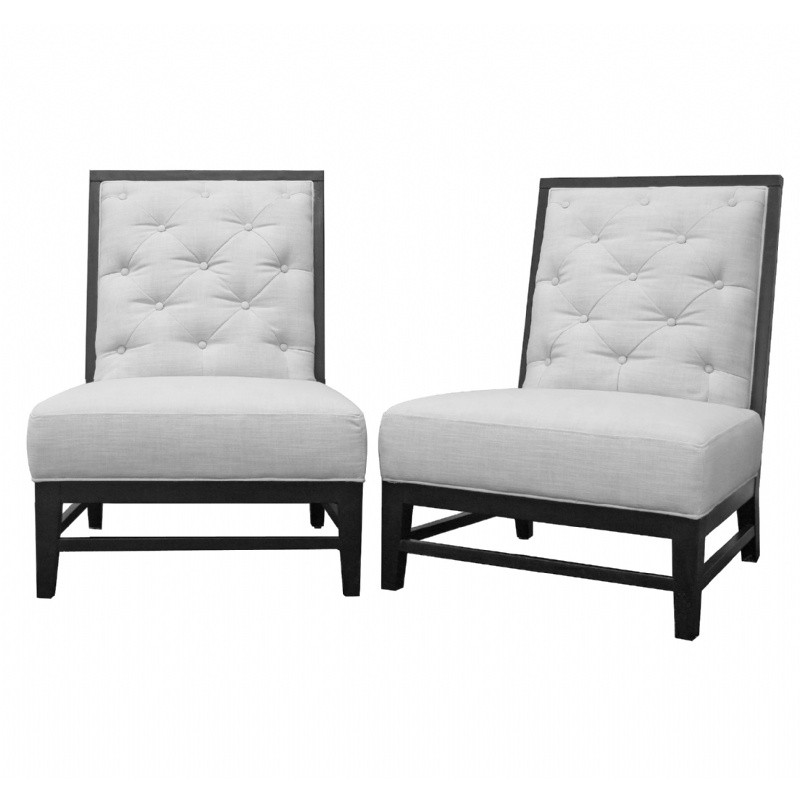 Furniture: Club Chairs: Bristol Tufted Modern Club Lounge Chair Gray Linen