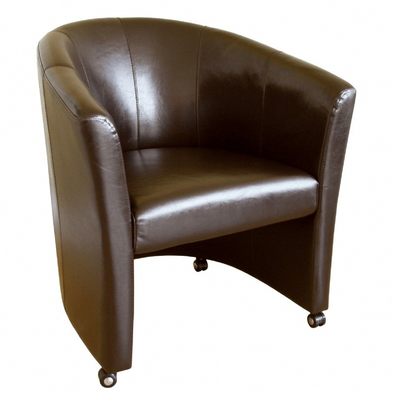 Most Popular: Furniture: Club Chairs: Curved Full Leather Club Chair with Wheels