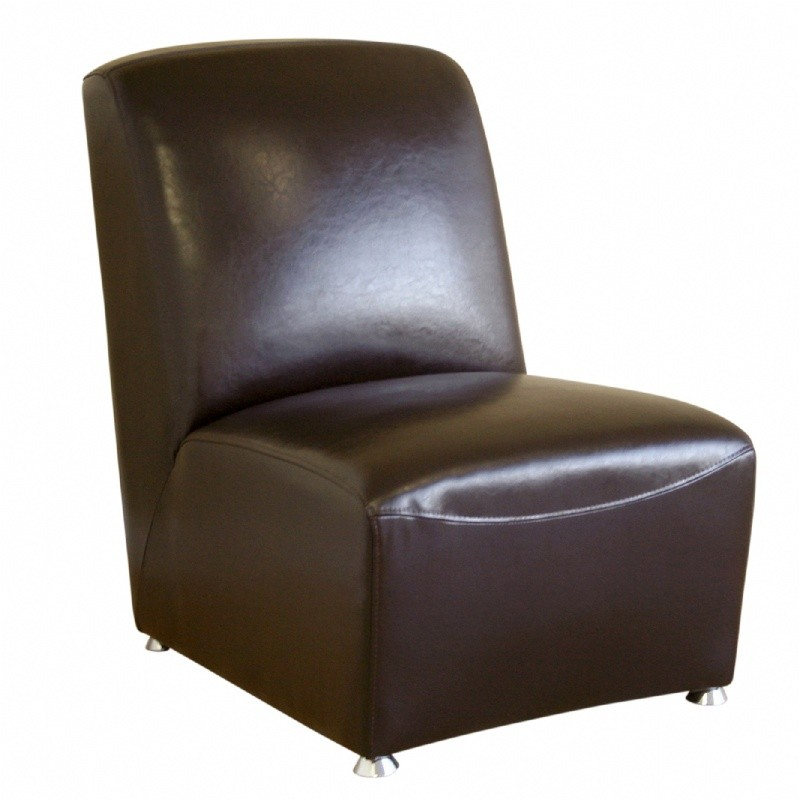 Furniture: Club Chairs: Dark Brown Leather Armless Club Chair with Metal Legs