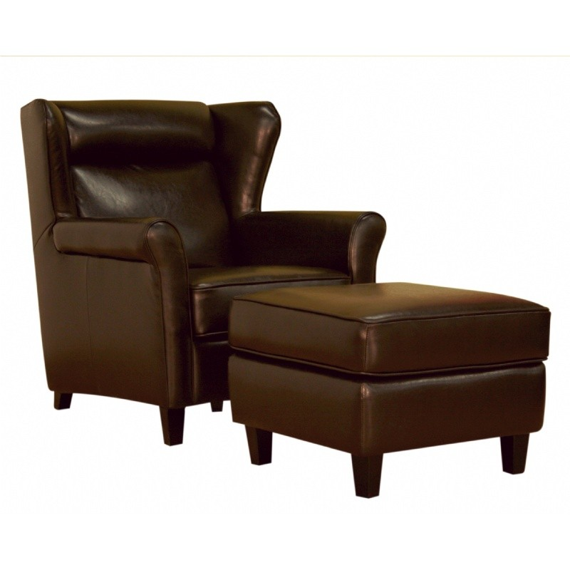 Furniture: Club Chairs: Dark Brown Leather Club Chair and Ottoman