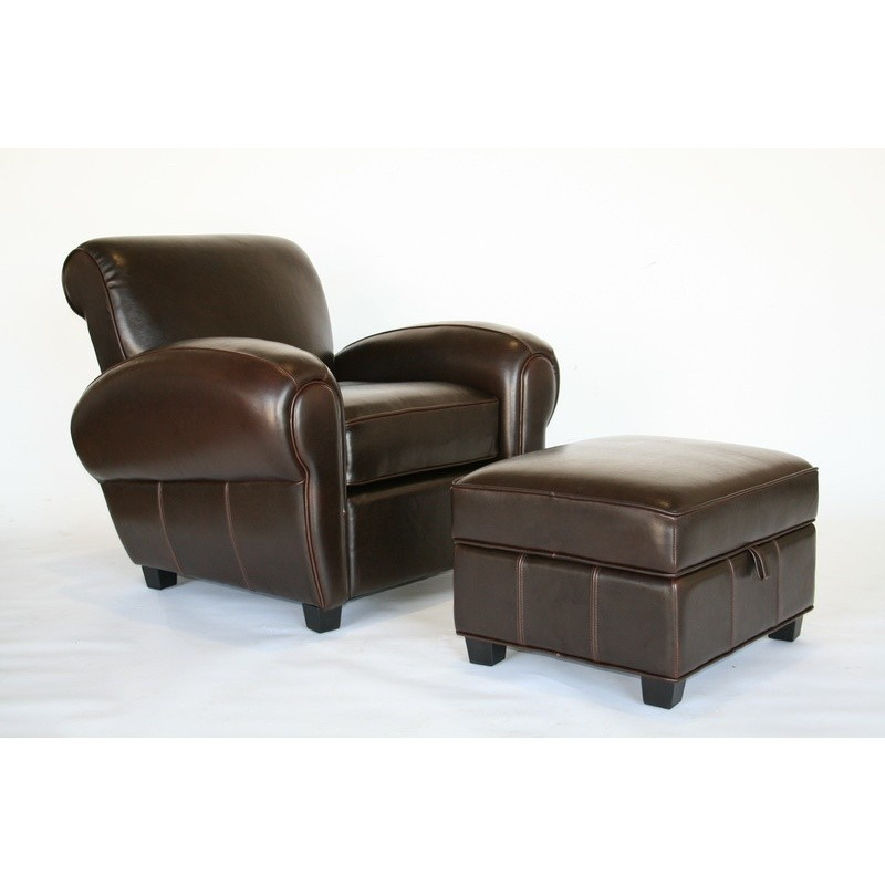 Dark Brown Leather Club Chair And Ottoman