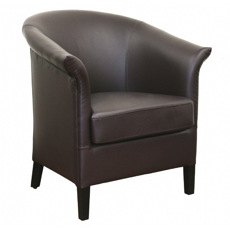 Furniture: Club Chairs: Delilah Brown Leather Contemporary Club Chair