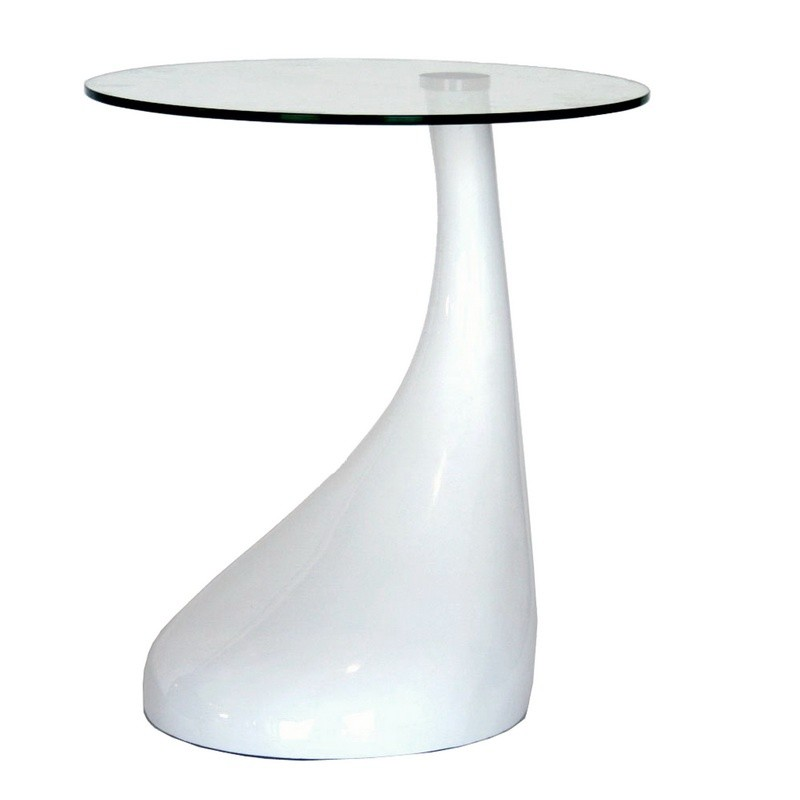 Glossy White Plastic Round Coffee Table With Glass Top