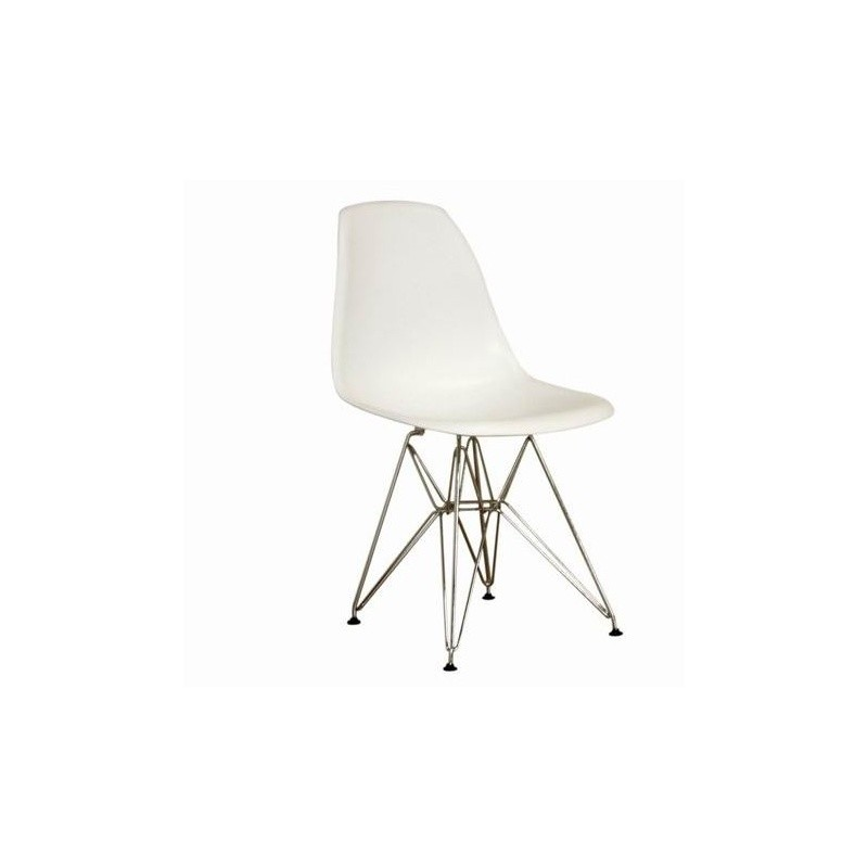 Modern Plastic White Side Chair with Steel Legs